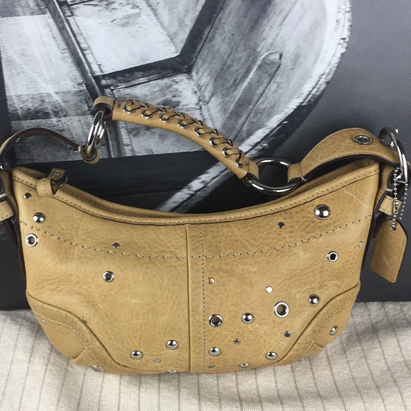Coach Handbags - Coach F10931 butterscotch leather studded hobo bag